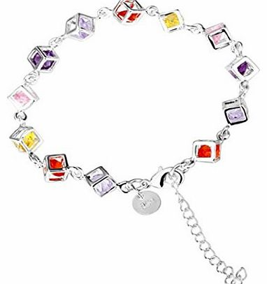 Colorful Womens Solid Silver 925 Bracelet Jewellery