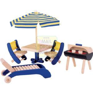 PINTOY Wooden Dolls House Furniture Barbecue and Patio Furniture