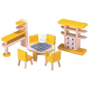 PINTOY Wooden Dolls House Furniture Dining Room
