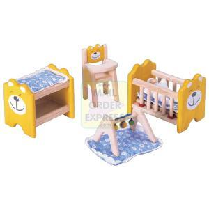 PINTOY Wooden Dolls House Furniture Nursery