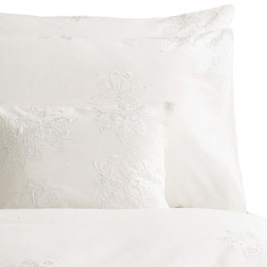 John Lewis Satin Flower Duvet Cover- White- Super Kingsize