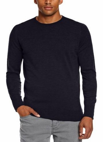 John Smedley Mens Marcus Crew Neck Long Sleeve Jumper, Blue (Midnight), Medium
