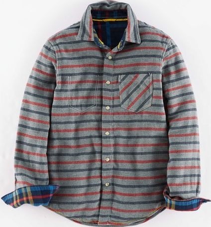 Johnnie  b, 1669[^]34946087 Double Cloth Check Shirt Grey Johnnie b, Grey