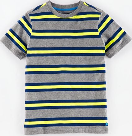 Johnnie  b, 1669[^]34925255 Retro Stripe T-shirt Grey Marl/Acid Yellow