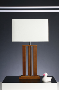 Joka Design Modern Wood And Acrylic Table Lamp With Rectangular Cream Silk Fabric Shade