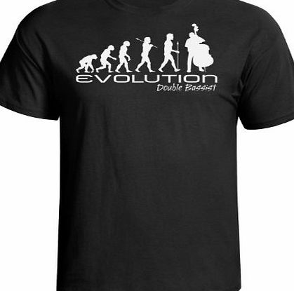 jonny cotton Evolution of a double bassist mens bass music funny unique gift present t shirt Black shirt white print product image