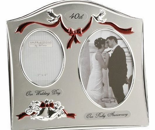 Wedding Gift List Comparison : Two Tone Silverplated Wedding Anniversary Gift Photo Frame - ``40th ...
