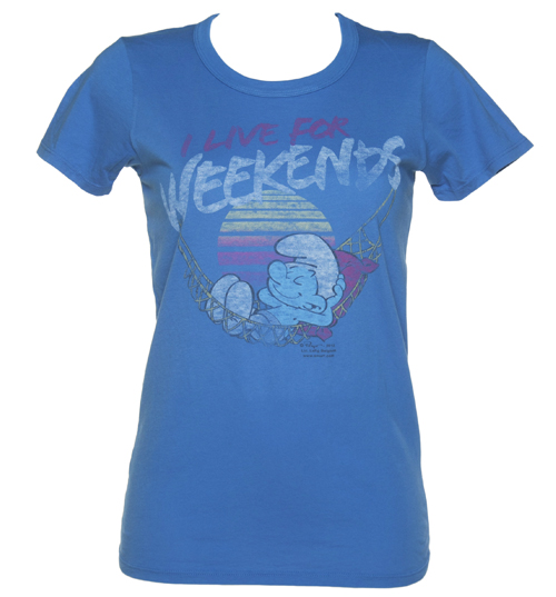 Junk Food Ladies Blue Smurfs Live For Weekends Boyfriend product image