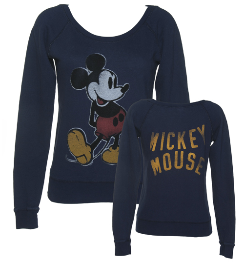 Junk Food Ladies Premium Navy Mickey Mouse Front And Back product image