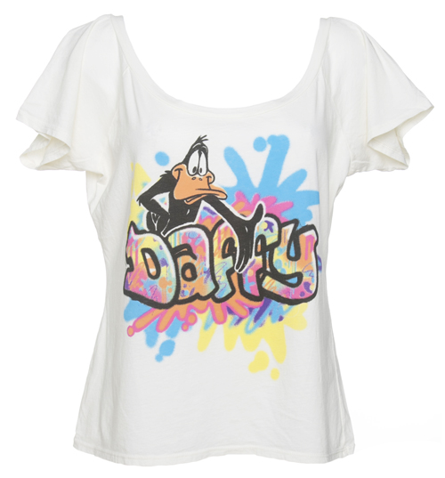 Ladies Slouch Neck 90s Graffiti Daffy Duck