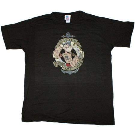 Popeye Tattoo Black Wash Mens T-Shirt