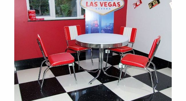 4 seat dining table : just americana american 50s diner furniture budget retro style table and 4 red chairs from www.comparestoreprices.co.uk size 650 x 355 jpeg 41kB