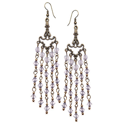 Dancing Diva Earrings-Grey beads