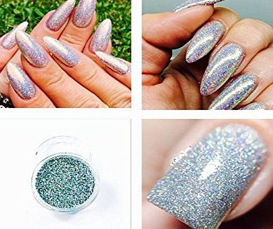 Just Crystals Boutique Mermaid Laser Silver Holographic Acrylic Powder Pre Mixed Glitter Nail Extension Art Design 5g Pot