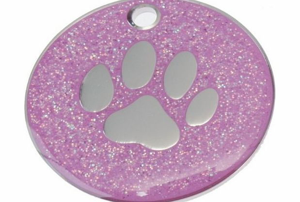 Just Pets Quality Enamel Pink Glitter Dog Tag, Dog Paw Design, Personalised, Engraved Free