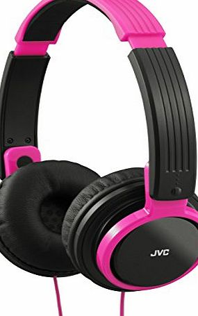JVC HA-S200 Foldable Lightweight Portable Over-Ear Headphones - Pink
