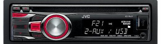 KD-R421 Car CD Receiver with MP3 Stereo, Front USB, Dual Aux-in - Red Illumination