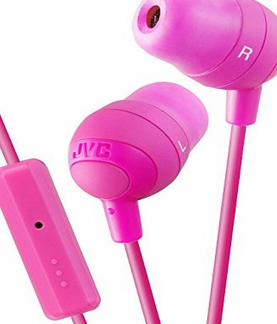 JVC Portable Universal Marshmallow Inner Ear Headphones with Remote and Microphone Compatible with Apple and Android Smartphones, Tablets, eReaders, Mp3s, PCs, Laptops, Netbooks, HiFis - Pink