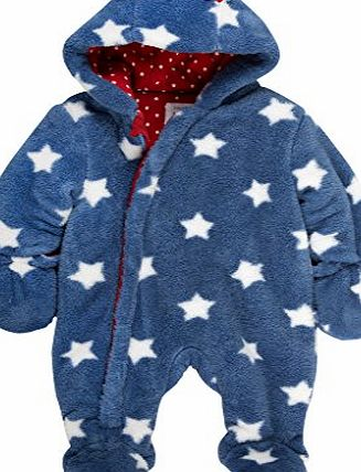 Baby Boys Starry Long Sleeve Snowsuit, Blue (Navy), 3-6 Months