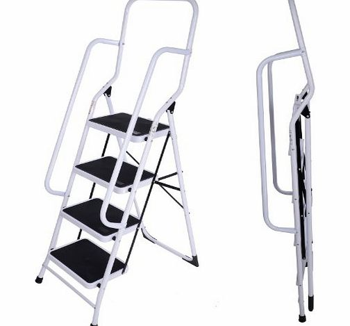 KMS FoxHunter Foldable 4 Step Steel Non Slip Ladder tread Stepladder With Safety Side Rail Handrail Home Kitchen