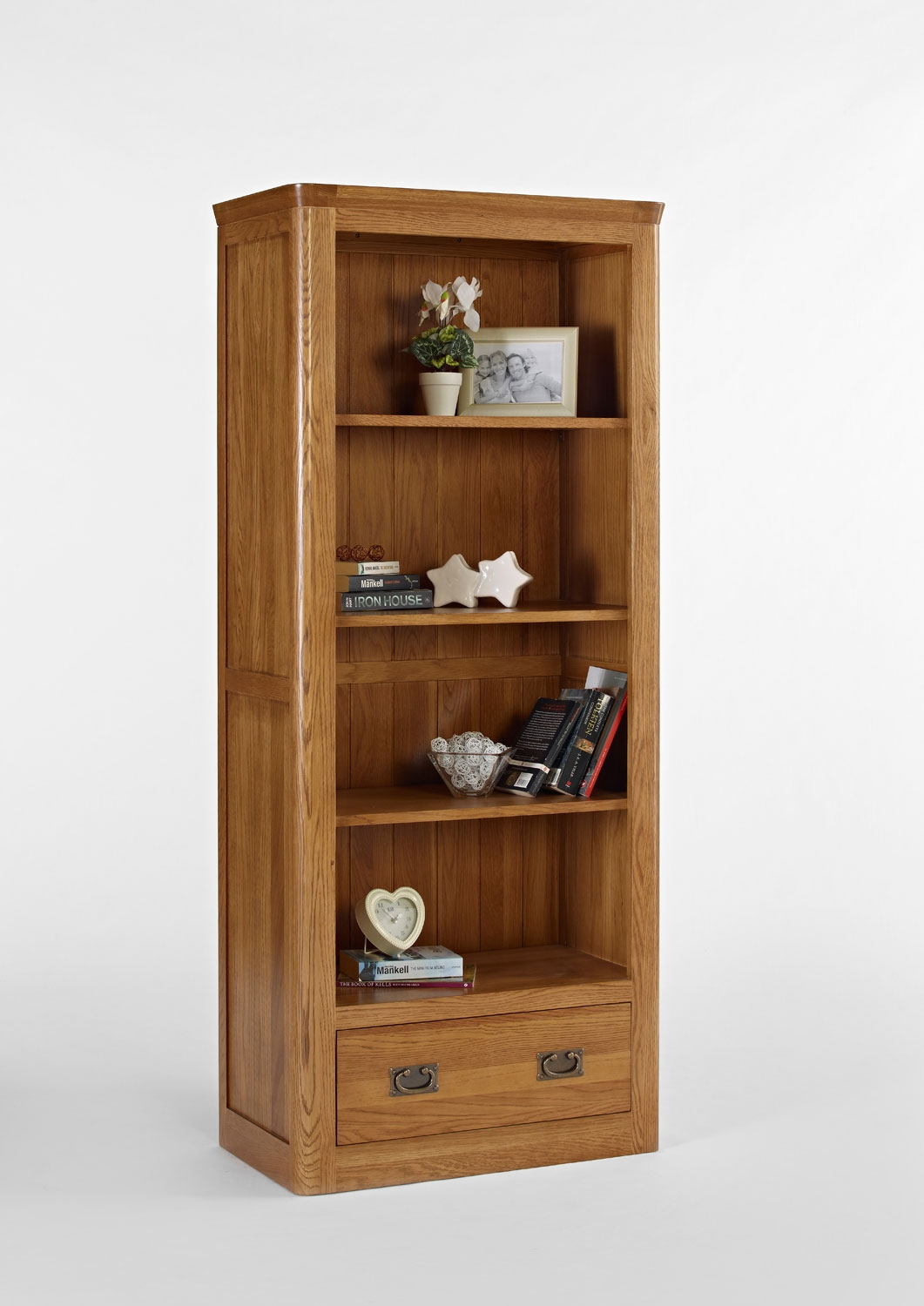 Knightsbridge oak book cases for Bookshelf with drawers