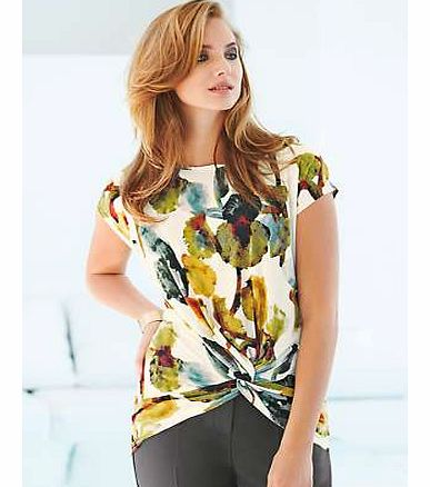 Knot Front Print Top
