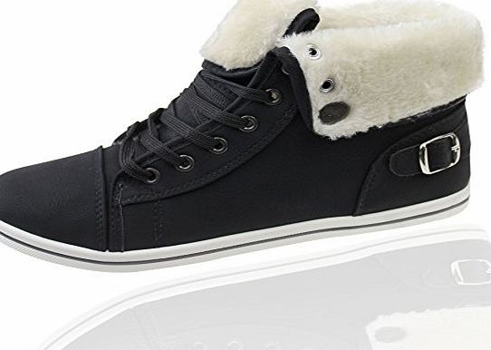 KOLLACHE Womens Fur Lined Boots High Top Ankle Black Trainer Sneaker Pumps Plimsole Shoes EU 41
