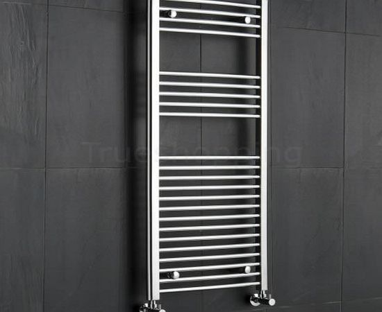 KUDOX  Premium Chrome Curved Heated Bathroom Towel Radiator Rail 500mm x 1200mm