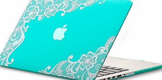 Kuzy - Retina 13-inch Lace TEAL HOT BLUE Rubberized Hard Case for MacBook Pro 13.3`` with Retina Display A1502 / A1425 (NEWEST VERSION) Shell Cover - Lace TEAL