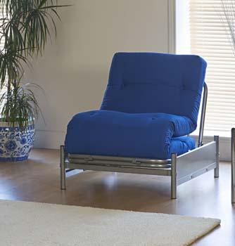 futon with blue mattress