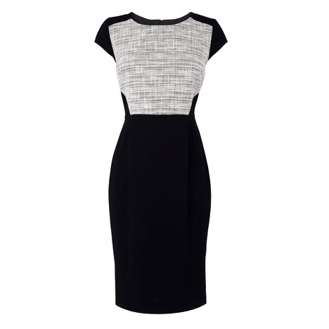 Allina Tweed Contrast Dress Colour White Tweed