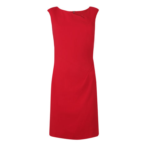 Dee Wool Hip Pleat Dress Colour Dark Red
