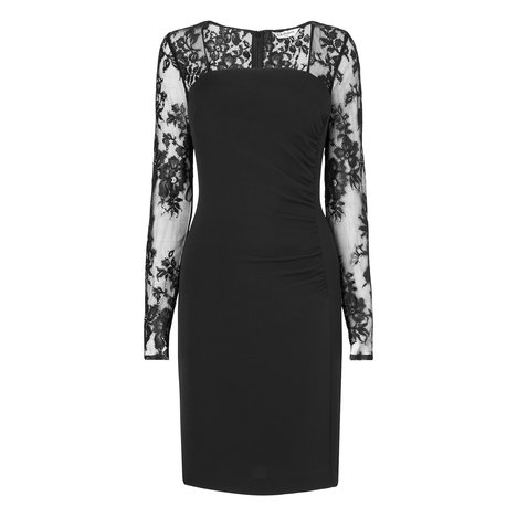 Lara Lace Sleeve Silk Dress Colour Black