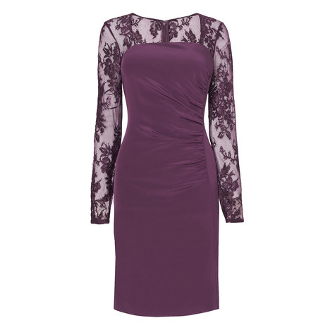 Lara Lace Sleeve Silk Dress Colour Damson