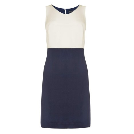 Limon Silk Color Block Dress Colour Navy