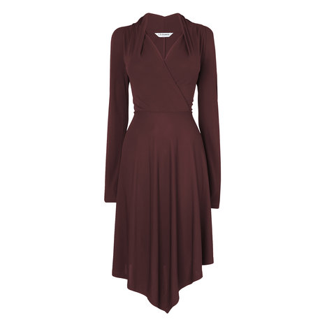 Lory Jersey Wrap Dress Colour Aubergine