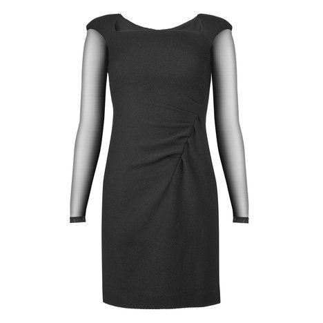 Monika Wool Sheer Sleeve Dress Colour Black