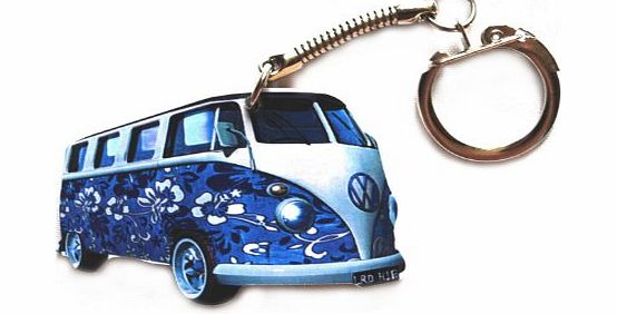 L R VW Campervan Keyring - Blue Flower Hippy Design - VW8