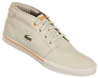 Lacoste Ampthill WP Grey/Orange Canvas Trainers Colourway: Grey Orange Grey canvas uppers with Lacoste green croc logo embroidered on the side. Orange sewn Lacoste logo to heel and tongue. Soft material inner. Vulcanised rubber sole with orange keyli - CLICK FOR MORE INFORMATION