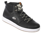 Lacoste Studland Black/White Leather Boots Colourway: Black White Black leather uppers with Lacoste silver croc logo embroidered on the side. Sewn Lacoste logo to tongue. Soft black perforated inner. Soft padded ankle for extra comfort. Thick vulcani - CLICK FOR MORE INFORMATION