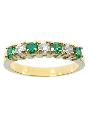 Ladies 9ct Gold Plated Emerald and Cubic