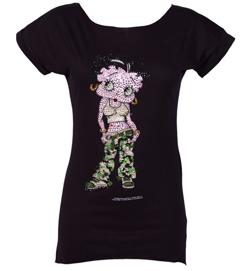 ladies Betty Boop Diamante Army Oversized T-Shirt product image