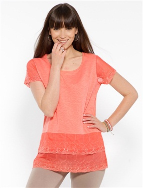 Ladies Dual Fabric Ruffled T-Shirt product image