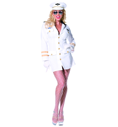 Ladies Top Gun Officer Fancy Dress Costume product image