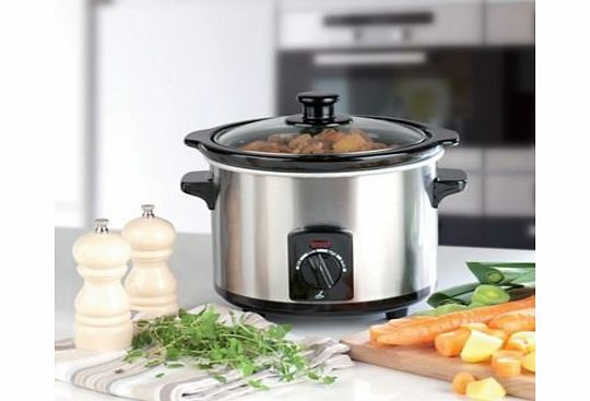 Lakeland 1.5 Litre Brushed Chrome Electric Slow Cooker product image