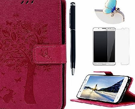 Lanveni J5 Case , Galaxy J5 Case (2016 Model) - Lanveni Premium PU Leather Wallet Flip Cover Bookstyle amp; Magnetic Closure amp; Tree Embossed amp; Stand Function Protective Cover with Detachable Wrist St