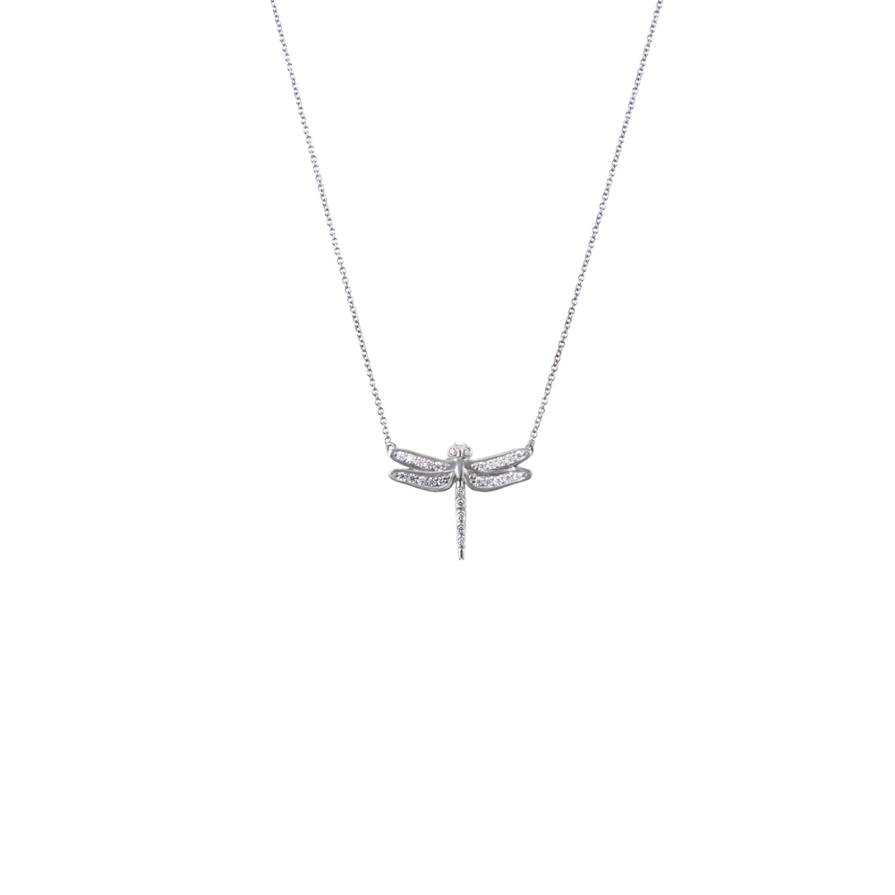 White gold pendant white gold dragonfly necklace 9ct white gold and diamond dragonfly pendant and mozeypictures Images