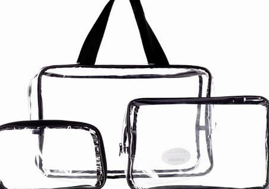 LaRoc 3 Piece Cosmetic Makeup Toiletry Clear PVC Travel Wash Bag Holder Pouch Set Kit
