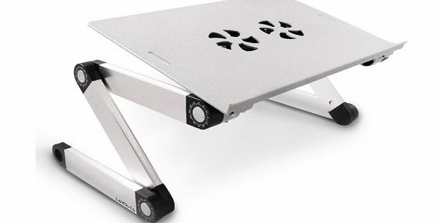 Folding Laptop Table Desk Tray Stand with Mouse Board and Cooling Pad - 2x Cooler Fans - Aluminium Alloy - Adjustable-Angle Legs - Silver