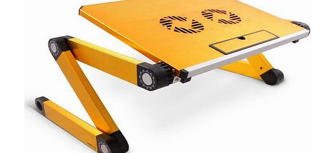 Portable Folding Laptop Table Desk Tray Stand with Cooling Pad - 2x Cooler Fans - Aluminium Alloy - Adjustable-Angle Legs - Yellow